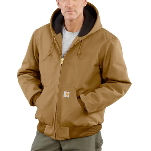 Men's Duck Quilted Flannel-Lined Active Jacket, Brown, swatch