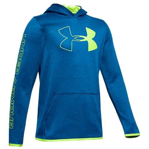 Boy's Armour Fleece Branded Hoodie, Green Blue, Teal, swatch