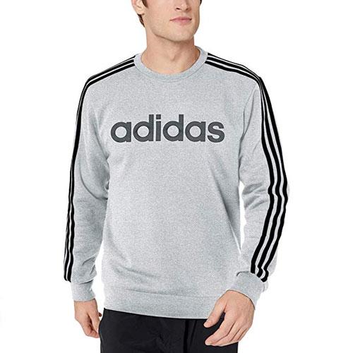 Men's Essentials 3-Stripe Sweater, Heather Gray, swatch