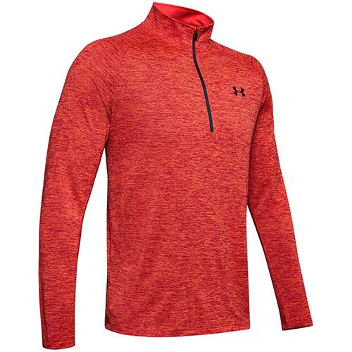 Men's Long Sleeve Tech 1/2 Zip Shirt, Red, swatch