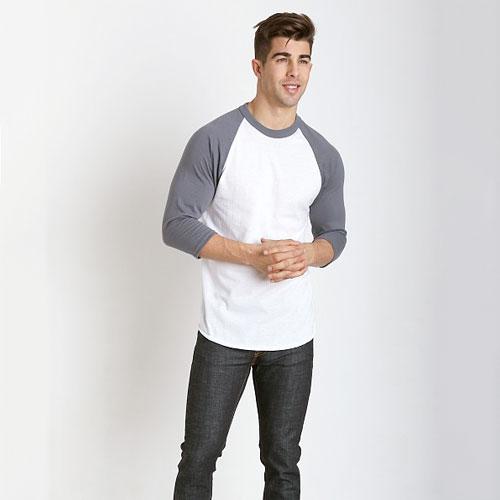Adult 3/4 Sleeve Baseball Shirt, White/Gray, swatch