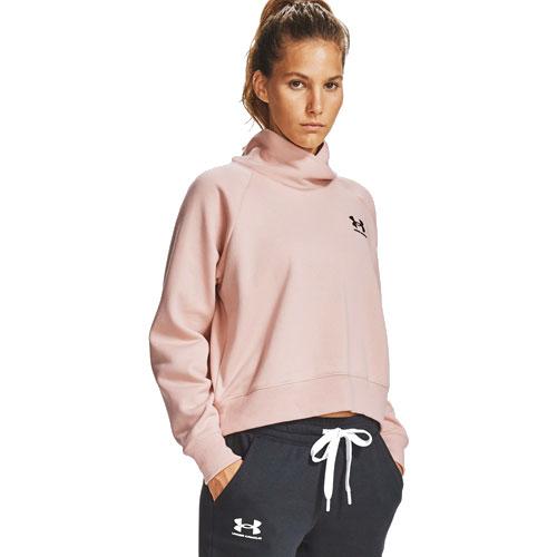 Women's Rival Fleece Wrap Neck Pullover Sweater, Peach, swatch