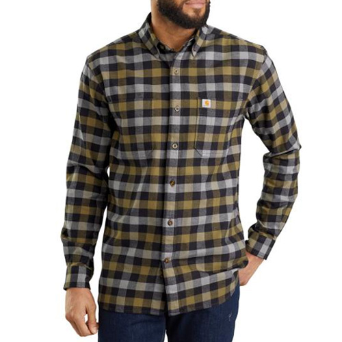 Men's Rugged Flex Hamilton Plaid Long Sleeve Shirt, Black, swatch