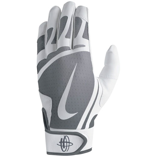 Youth Huarache Edge Batting Glove, Silver,Chrome,Nickel, swatch