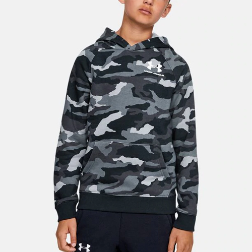 Boy's Rival Camo Printed Hoodie, Black, swatch