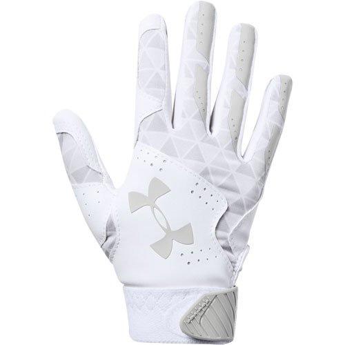Youth Radar Fast Pitch Batting Gloves, White/Silver, swatch