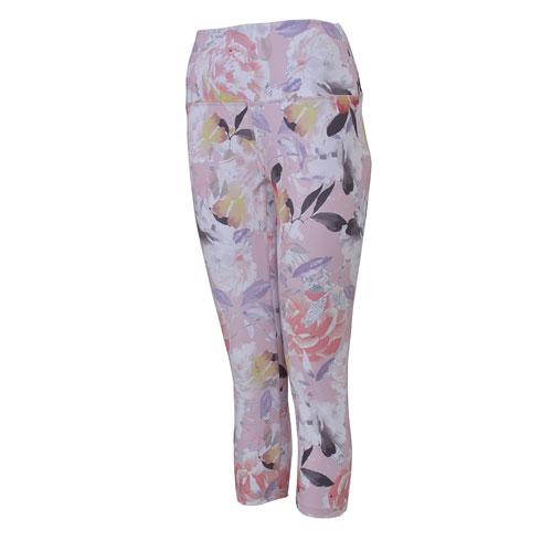 Women's Peached Printed Capri Leggings, Coral, swatch