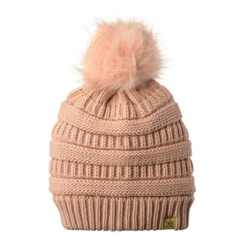 Women's Knit Beanie With Fur Pom, Pink, swatch