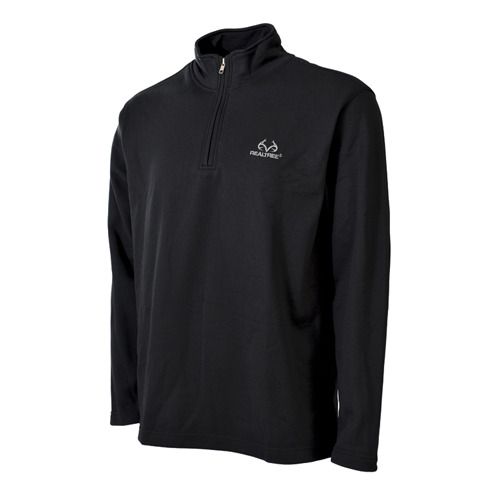 Men's 1/4 Zip Fleece Top, Black, swatch