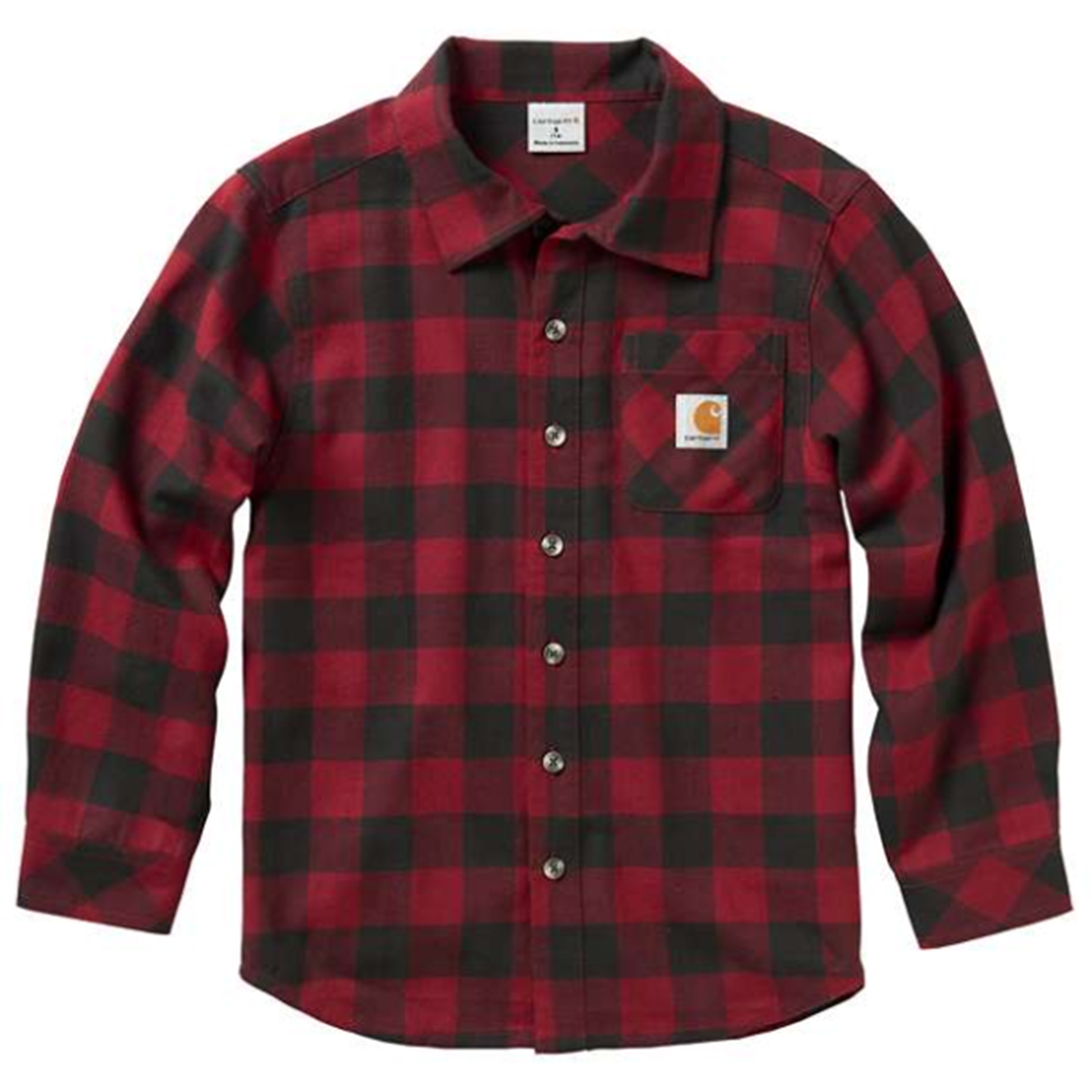 Youth Long Sleeve Plaid Shirt, Red/Black, swatch