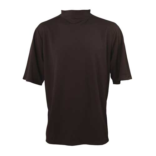 Men's Mock Turtleneck Short Sleeve Golf Shirt, Black, swatch