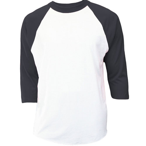 Youth 3/4 Sleeve Baseball Shirt, White/Black, swatch