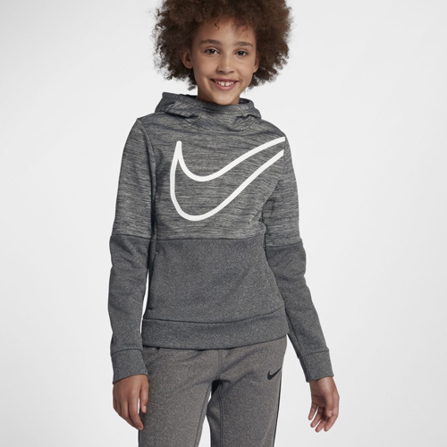 Girl's Therma Swoosh Training Hoodie, Black, swatch