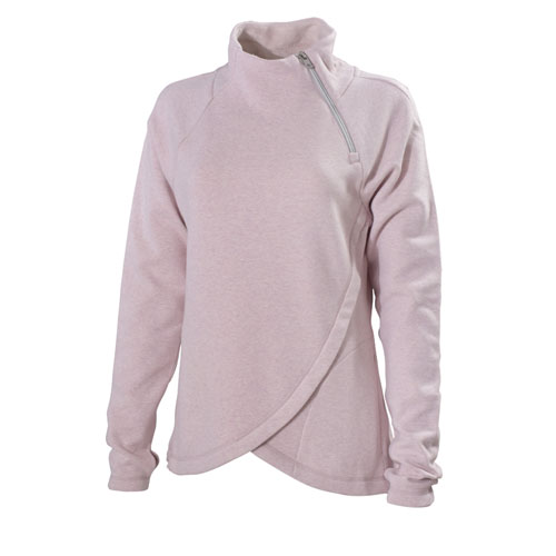 Women's Missy Lined Long Sleeve Pullover with Zip Neck, Pink, swatch