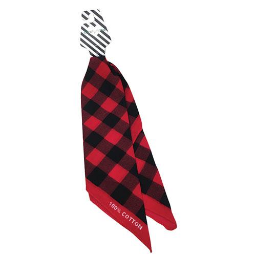 Buffalo Plaid Bandana, Black/Red, swatch
