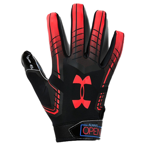 Men's F6 Novelty Football Gloves, Black/Red, swatch