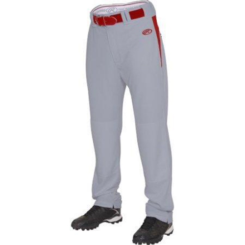 Youth Plated Baseball Pants, Gray/Red, swatch