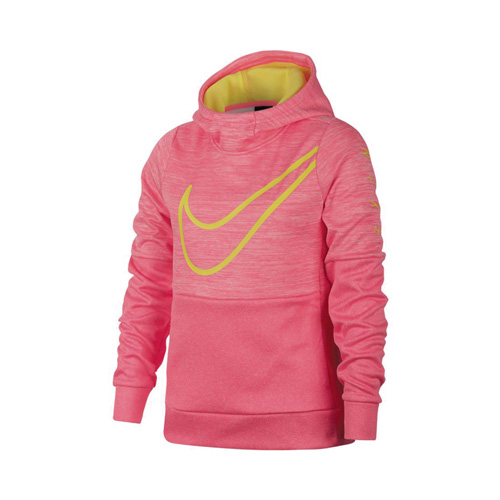 Girl's Therma Swoosh Training Hoodie, Pink, swatch