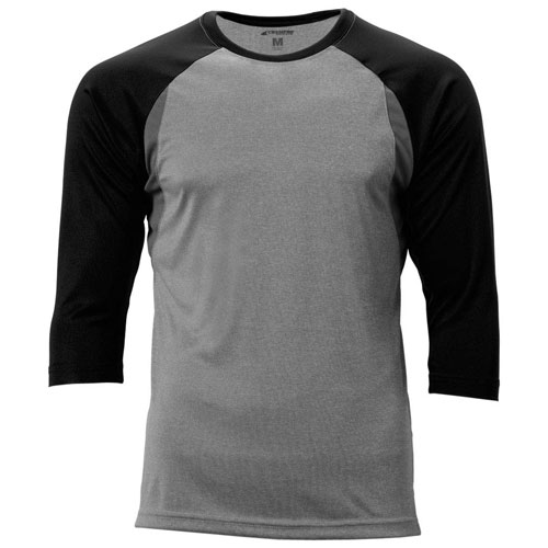Youth Extra Innings 3/4 Sleeve Shirt, Gray/Black, swatch