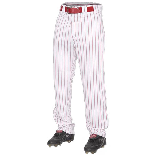 Adult Semi-relaxed Pinstripe Baseball Pants, White/Red, swatch