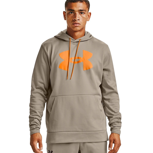 Men's Armour Fleece Big Logo Hoodie, Tan,Beige,Fawn,Khaki, swatch