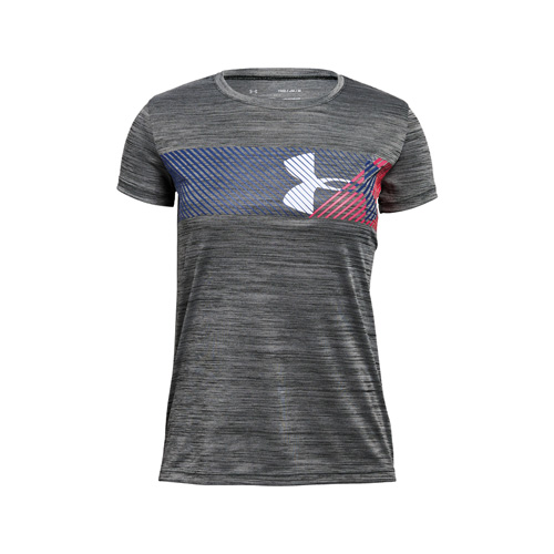 Girl's Short Sleeve Hybrid Big Logo Tee, Charcoal,Smoke,Steel, swatch