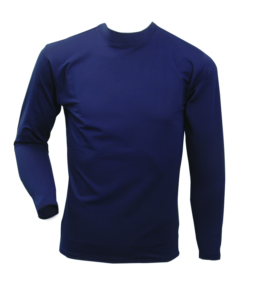 Men's Long Sleeve Cold Weather Mockneck Shirt, Navy, swatch