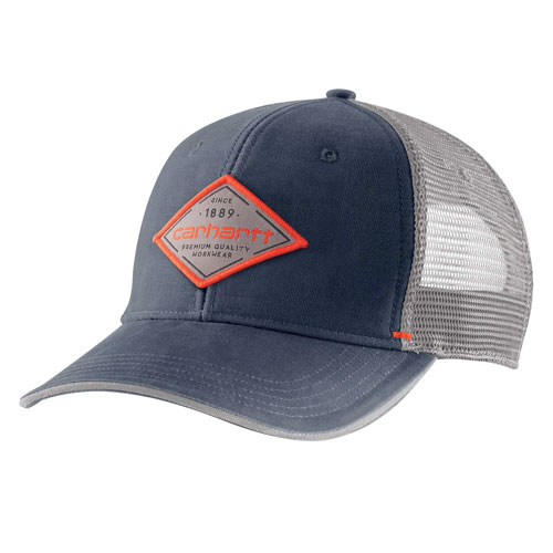 Canvas Mesh-Back Premium Graphic Cap, Navy, swatch