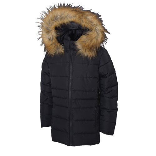 Girl's Hooded Synthetic Jacket, Black, swatch