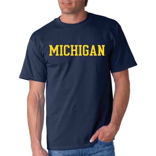 Michigan Straight Block T-Shirt, Navy, swatch