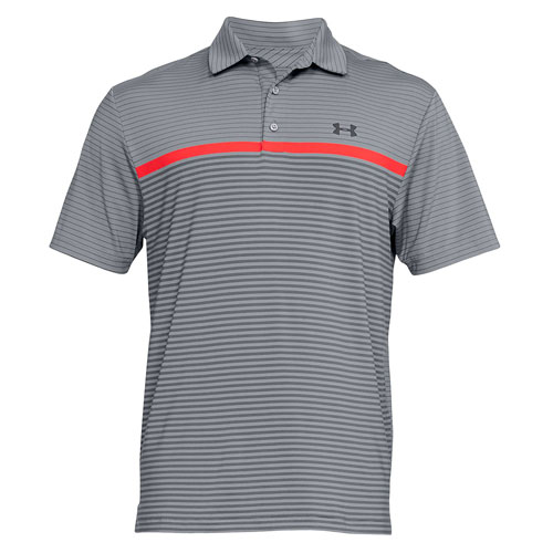Men's Short Sleeve Striped Polo Golf Shirt, Gray/Orange, swatch