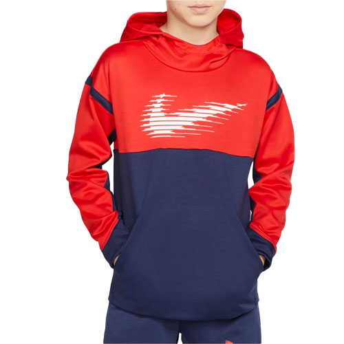 Boy's Therma Graphic Training Pullover Hoodie, Navy, swatch