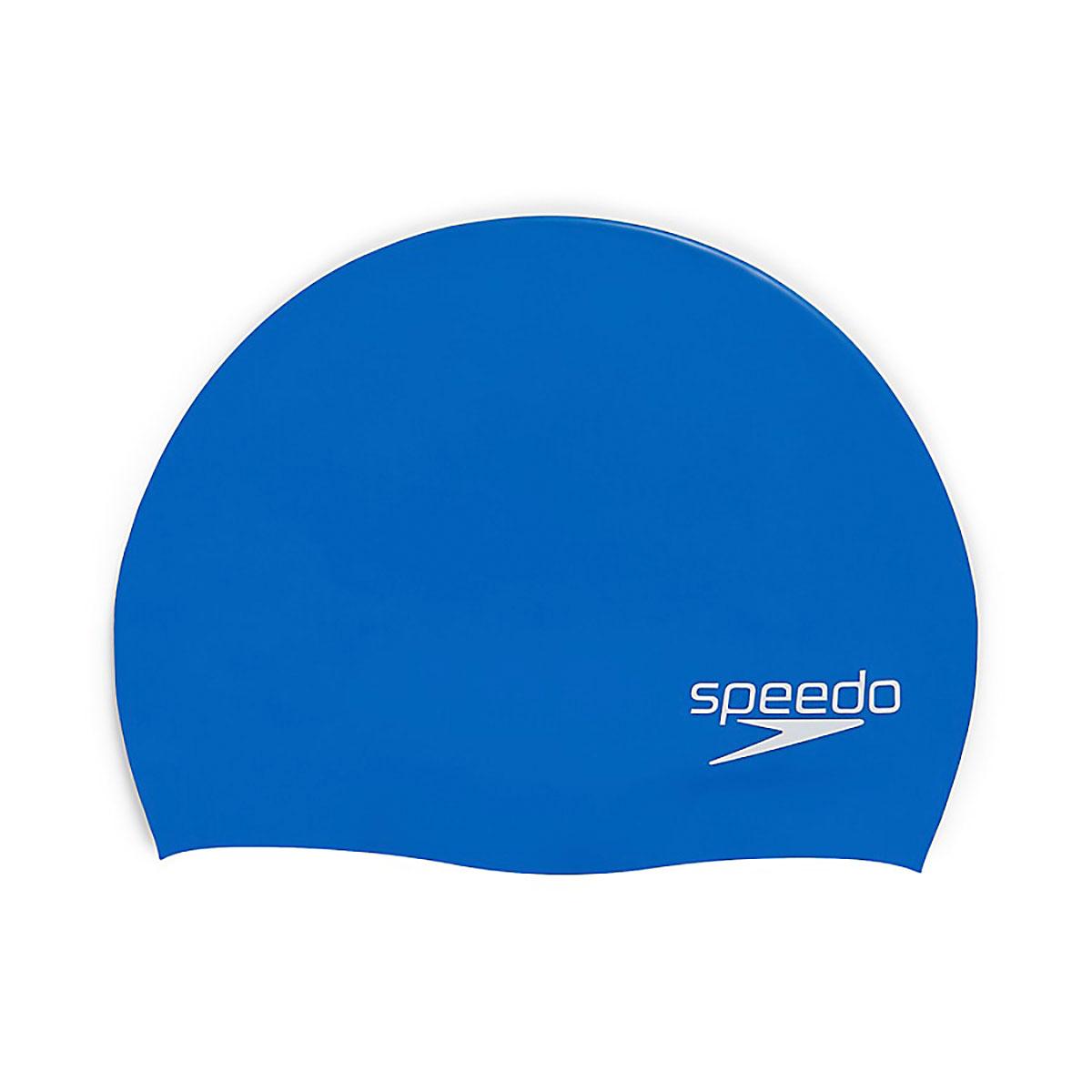 Elastomeric Solid Silicone Swim Cap, Blue, swatch