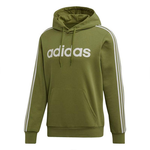 Men's Essentials 3-Stripes Pullover Hoodie, Dkgreen,Moss,Olive,Forest, swatch