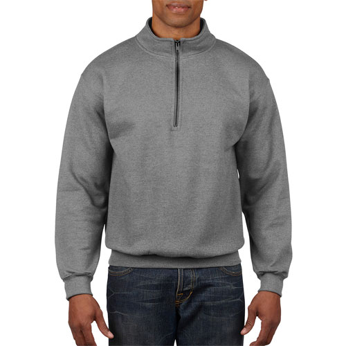 Men's Long Sleeve Quarter Zip Fleece, Heather Gray, swatch