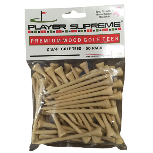 "2.75"" Player Supreme Natural Golf Tees - 50 Pack, , large"