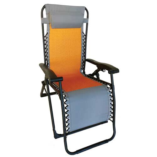 Deluxe Mesh Zero Gravity Chair, Gray/Orange, swatch