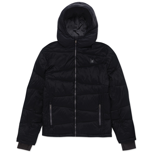 Boy's Puffer Ski Jacket, Black, swatch