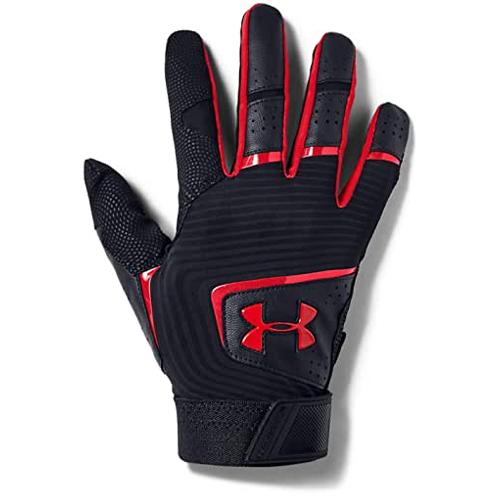 Men's Clean Up Baseball Gloves, Black/Red, swatch