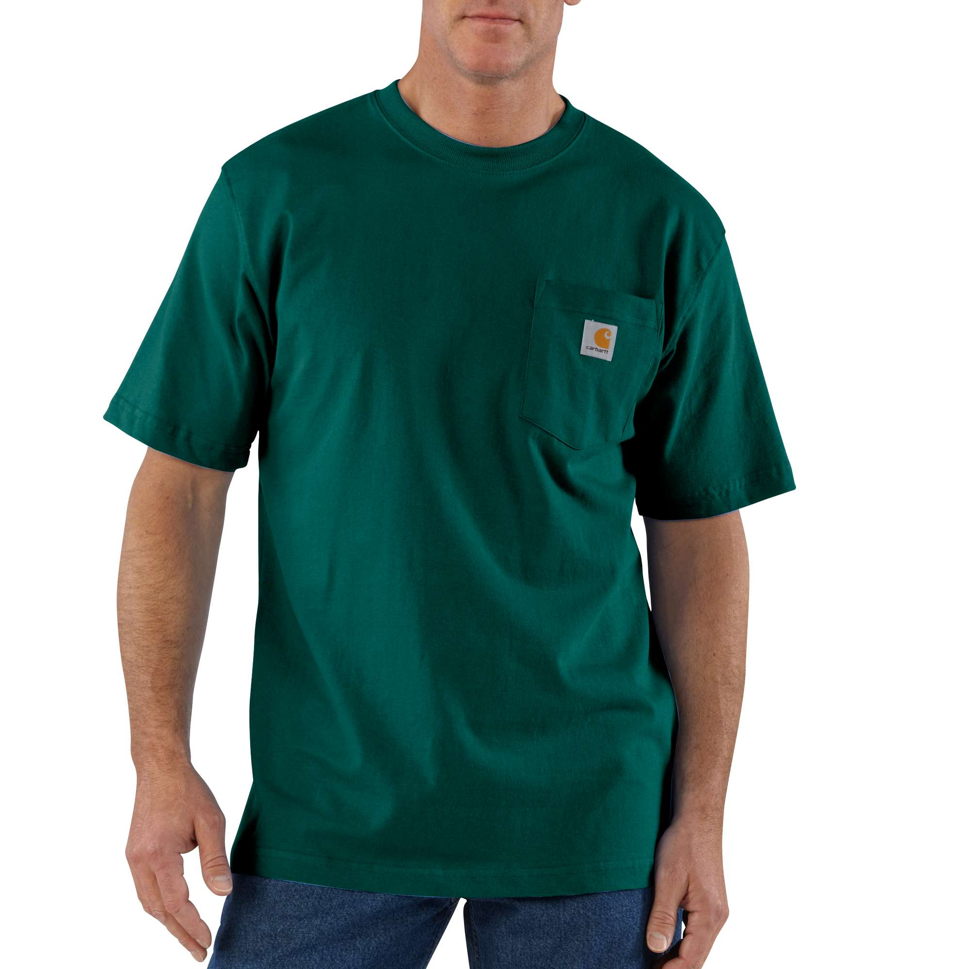 Men's Big & Tall Workwear Pocket T-shirt, Hunter Green, swatch