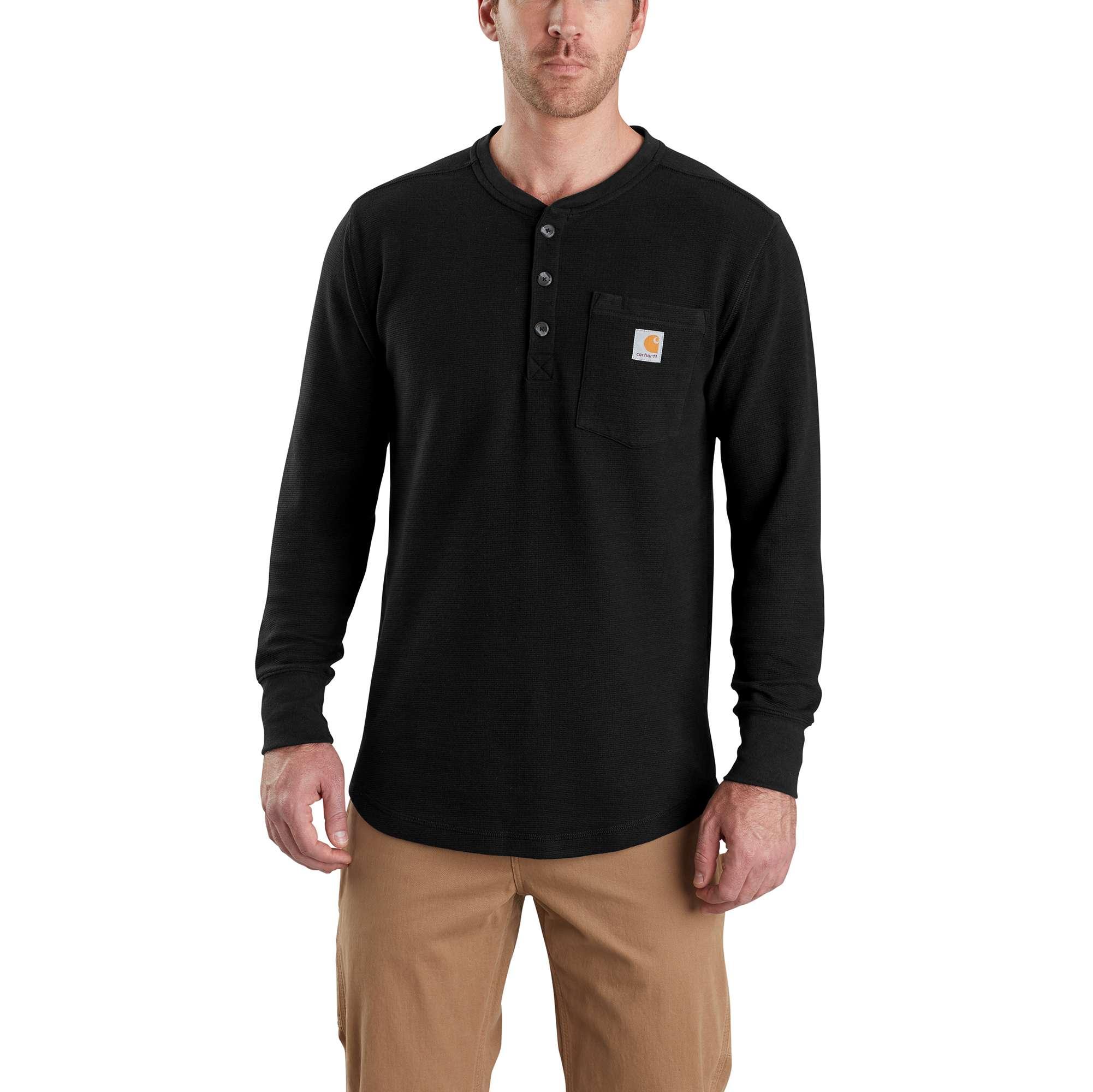Men's Tilden Long Sleeve Henley Shirt, Black, swatch