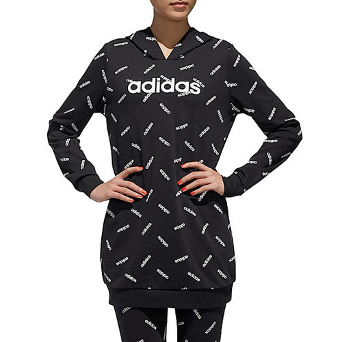 Women's All Over Print Tunic Hoodie, Black, swatch