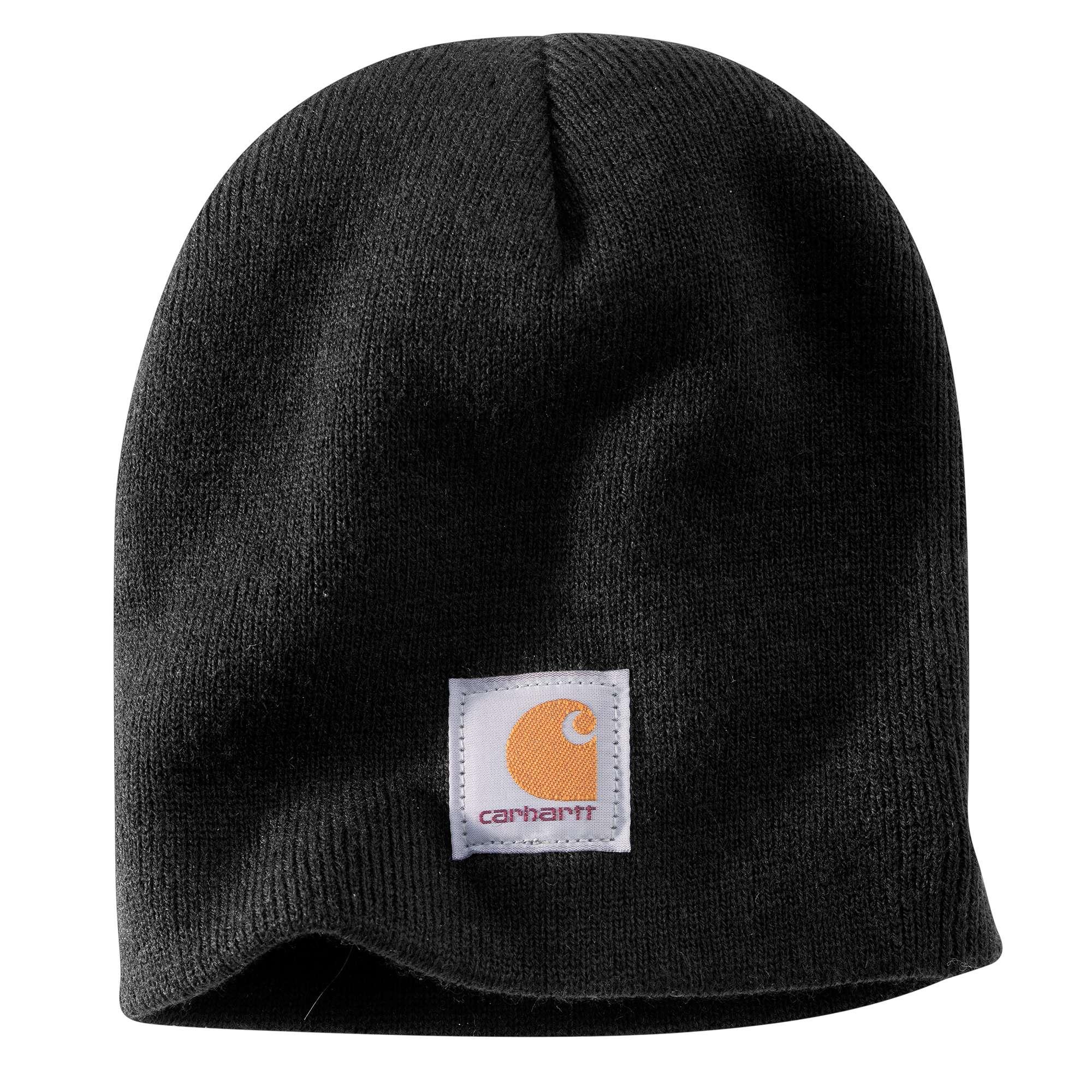 Acrylic Knit Hat, Black, swatch