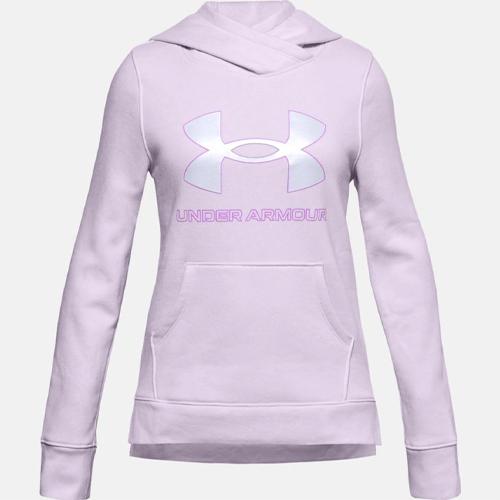 Girls' Rival Fleece Logo Hooide, Light Purple, swatch