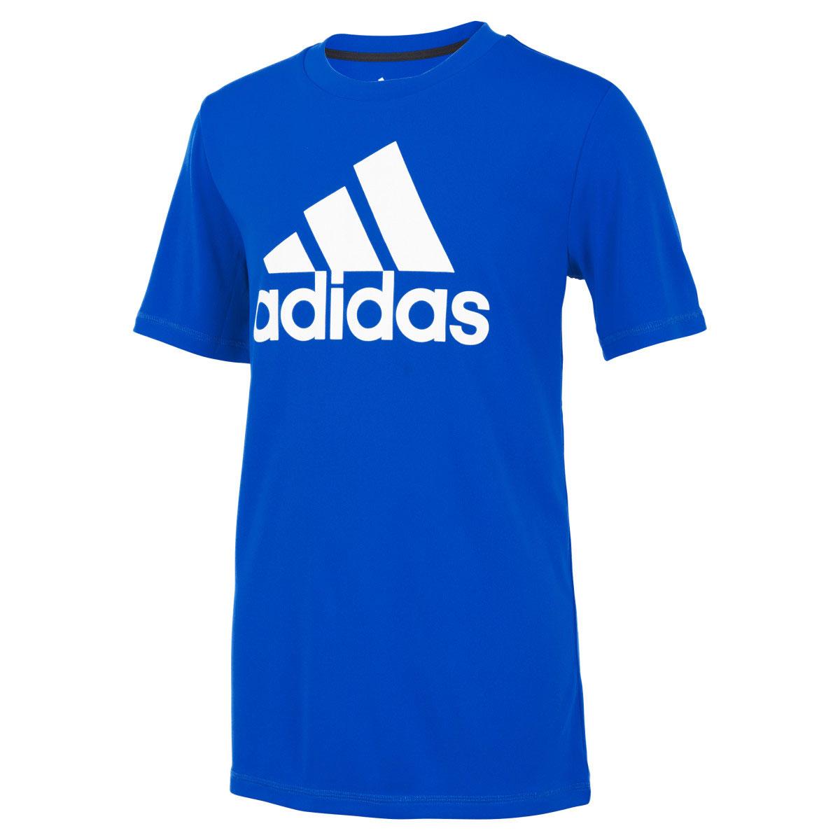Boys' Short Sleeve AEROREADY Performance Logo Tee, Royal Bl,Sapphire,Marine, swatch